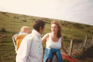 Anne with me and my youngest child, on a visit to Shetland (you can tell I'd got de-acclimatised by then!)