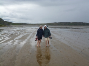 Paddling across to Oransay from Colonsay at low tide with Barbara Gay from New Zealand. Fun!