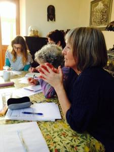 Writing dialogue round the table at Rosemerryn
