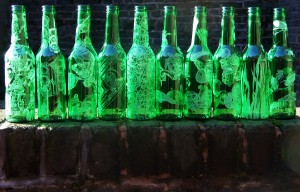 In the dream, the people on the wall reminded me of 'ten green bottles'